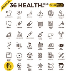 Health and medical pixel perfect outline icons vector image