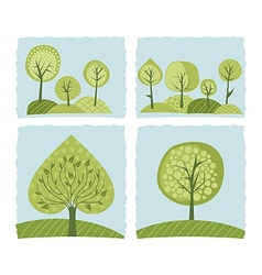 Spring Trees Set vector image