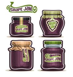 grape jam in glass jars vector image