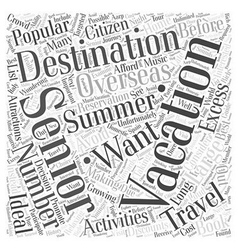 Popular Summer Vacation Destinations for Seniors vector image