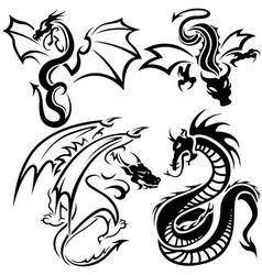 Tattoo dragons vector