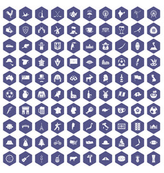 100 map icons hexagon purple vector image