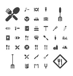 37 fork icons vector