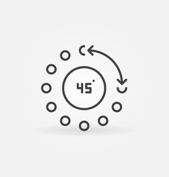 45 degrees angle concept icon in thin line vector