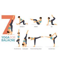7 yoga poses for body balance concept vector