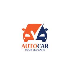 Auto car logo with checkmark vector
