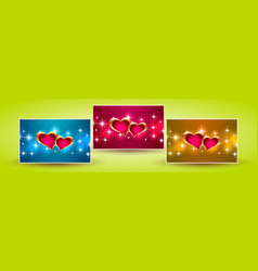 Banners hearts valentine vector