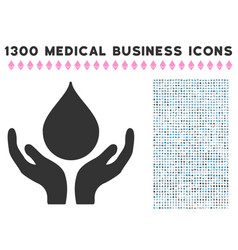 Blood donation hands icon with 1300 medical vector