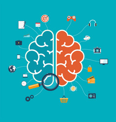 brain with icons concept for web and mobile apps vector image