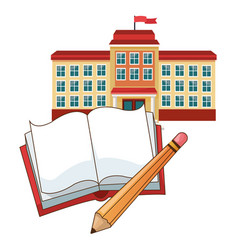 building school flag book pencil vector image