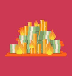 burning pile money vector image