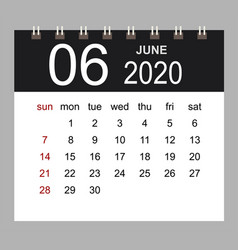 business calendar 2020 june notebook isolated vector image