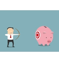 Businessman hunting for someone elses piggy bank vector