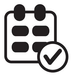 calendar ok icon black vector image
