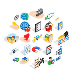 call center icons set isometric style vector image