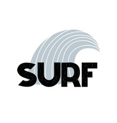 Card with lettering surf and wave in scandinavian vector