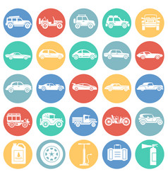 cars icons set on colro circles white background vector image