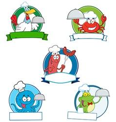 Cartoon animals with food vector