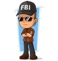 Cartoon cool secret agent with earphone vector