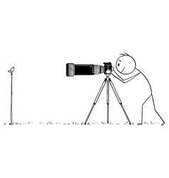 cartoon professional photographer taking photo vector image