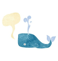 Cartoon whale with speech bubble vector