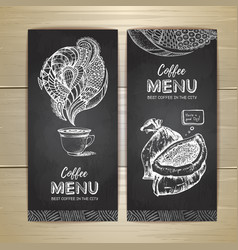 Chalk drawing coffee menu design vector