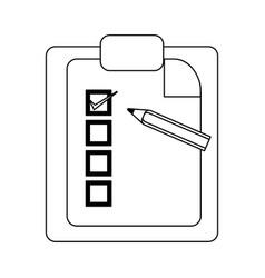 Checklist clipboard and pencil symbol in black and vector