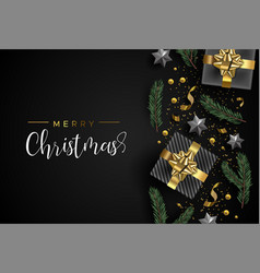 christmas card of gift and holiday object layout vector image