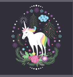 Christmas card with unicorn vector