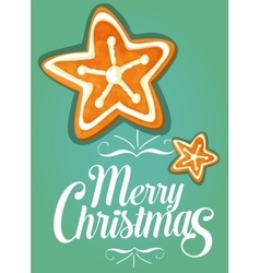 Christmas gingerbread cookie star festive card vector image