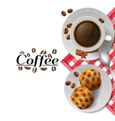 Coffee with cookies breakfast composition vector