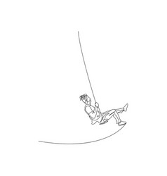 Continuous one line man swinging hard on a swing vector