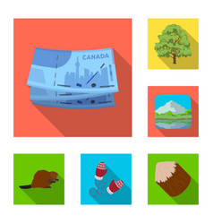 Country canada flat icons in set collection for vector