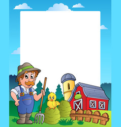 Country frame with red barn 2 vector