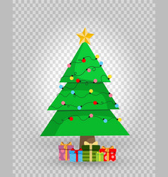 cute cartoon decorated christmas fir tree with vector image
