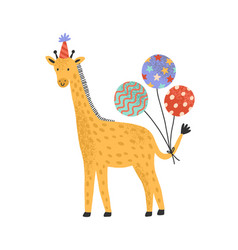 Cute giraffe in holiday cap hold bright festive vector