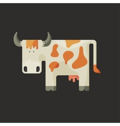 Cute white cartoon cow with horns and red spots vector