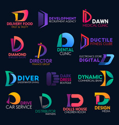 d letter color design corporate identity icons vector image