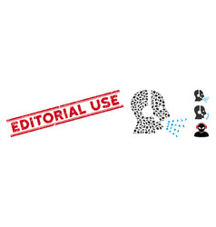 Distress editorial use line stamp with mosaic vector