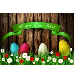 Easter egg hunt with Wood texture vector