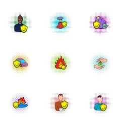 Emergency icons set pop-art style vector