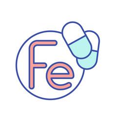 Fe vitamin rgb color icon vector