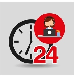 Female call center 24 clock service laptop office vector
