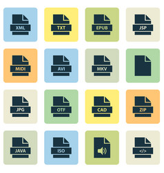 file icons set with java zip multimedia and vector image