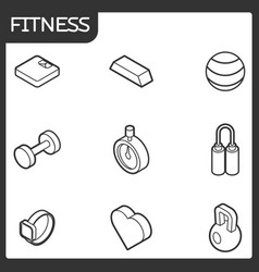 fitness outline isometric icons vector image
