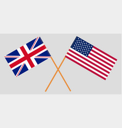 flags united states of america and great britain vector image