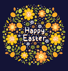 floral happy easter background vector image