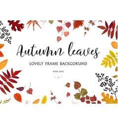 Floral watercolor style card design autumn border vector