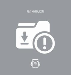 Folder dowload error - flat minimal icon vector