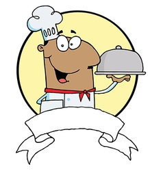 Friendly Male Chef Holding A Platter vector image